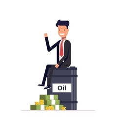 Businessman or manager sitting on a barrel of oil vector image vector image