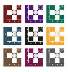 checkers icon in black style isolated on white vector image vector image