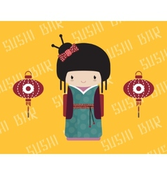 Kokeshi doll in kimono with traditional asian vector image