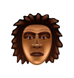 Prehistoric man face isolated on white vector image