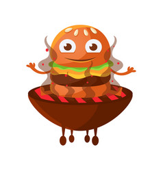 funny smiling burger with big eyes sitting on the vector image