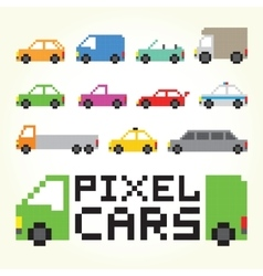 Pixel art cars isolated set vector image