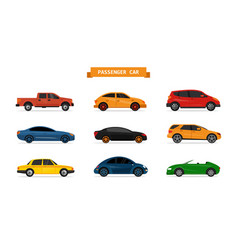 set of different cars isolated on white vector image