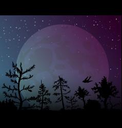 big moon on night sky background vector image