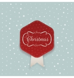Christmas red sticker with white ribbon vector