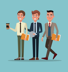 Color background full body set of executive men vector