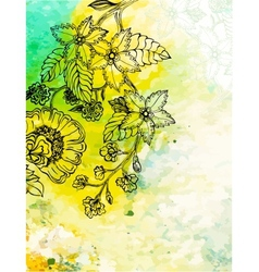 Floral background on abstract watercolour texture vector