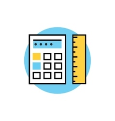 Icon of Ruler with Calculator vector image vector image