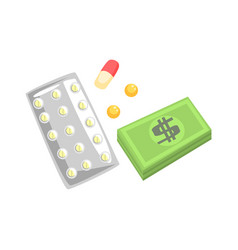 pills capsules of medicament and money colorful vector image