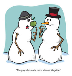 snowmen and magritte vector image vector image