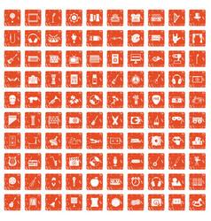 100 musical education icons set grunge orange vector