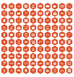 100 telephone icons hexagon orange vector