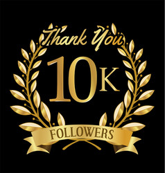 10000 followers with thank you vector