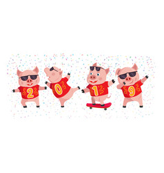2019 year of the pig cute pigs with number of vector image