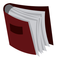 a book with red hardcover is stacked in shelf vector image