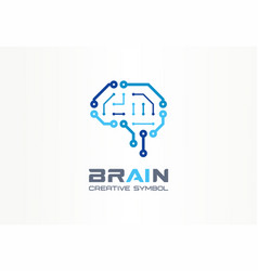Ai brain creative symbol concept smart chip vector