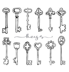 Antique keys hand drawing vector