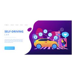 autonomous car concept landing page vector image