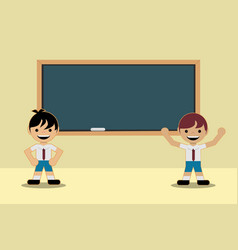 Back to school classes two students in school vector