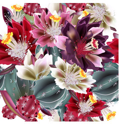 Background with realistic cactus flowers vector