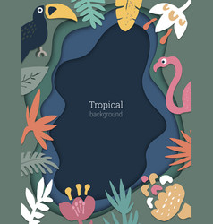 beautiful background with tropical leaves vector image