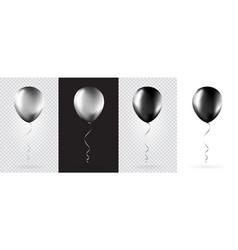 big set silver and black balloons vector image