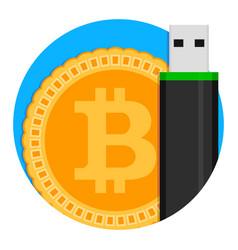 bitcoin storage icon vector image