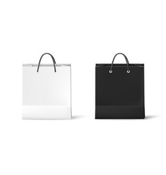 Black and white paper bags realistic bag isolated vector