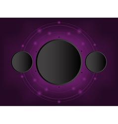 black circle 3D paper on dark purple background vector image