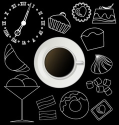 Board with coffee cup plate and design sweet vector