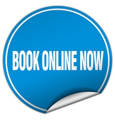 Book online now round blue sticker isolated on vector