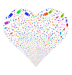 Bottle fireworks heart vector