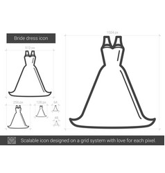Bride dress line icon vector