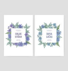 bundle elegant floral wedding invitations vector image