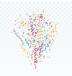 burst of colorful confetti and streamers festive vector image