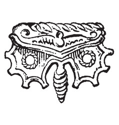 Butterfly brooch vintage engraving vector
