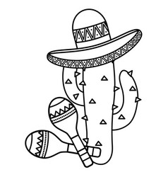 cactus plant with mexican hat and maracas vector image
