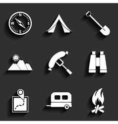 Camping flat icons set vector image