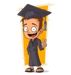Cartoon student in graduate hat vector image