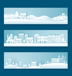 City town village in winter background vector