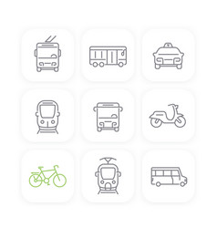 City transport bus taxi line icons set vector