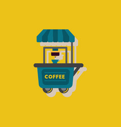 Coffee shop cart in sticker style vector
