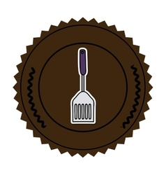 Color round frame with frying spatula vector