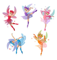 Colorful set of cute girly fairies pretty dresses vector