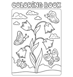 coloring book bellflower and butterflies vector image