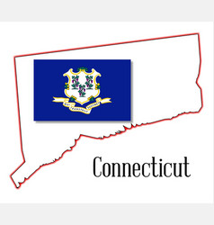 connecticut state map and seal vector image