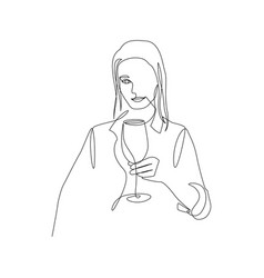 Continuous one line beautiful woman hold glass of vector