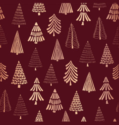copper foil doodle christmas trees pattern vector image
