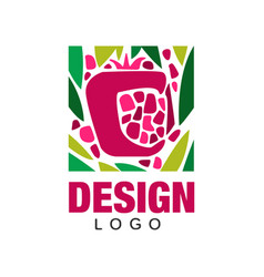 Creative logo design with tropical fruit abstract vector