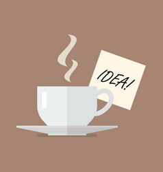cup of coffee with idea wording on sticky note vector image